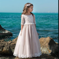 Vintage Lace Flower Girl Dress For Special Occasion ith Pearls First Communion Dress Cheap Pageant Gowns For Princess Vestidos