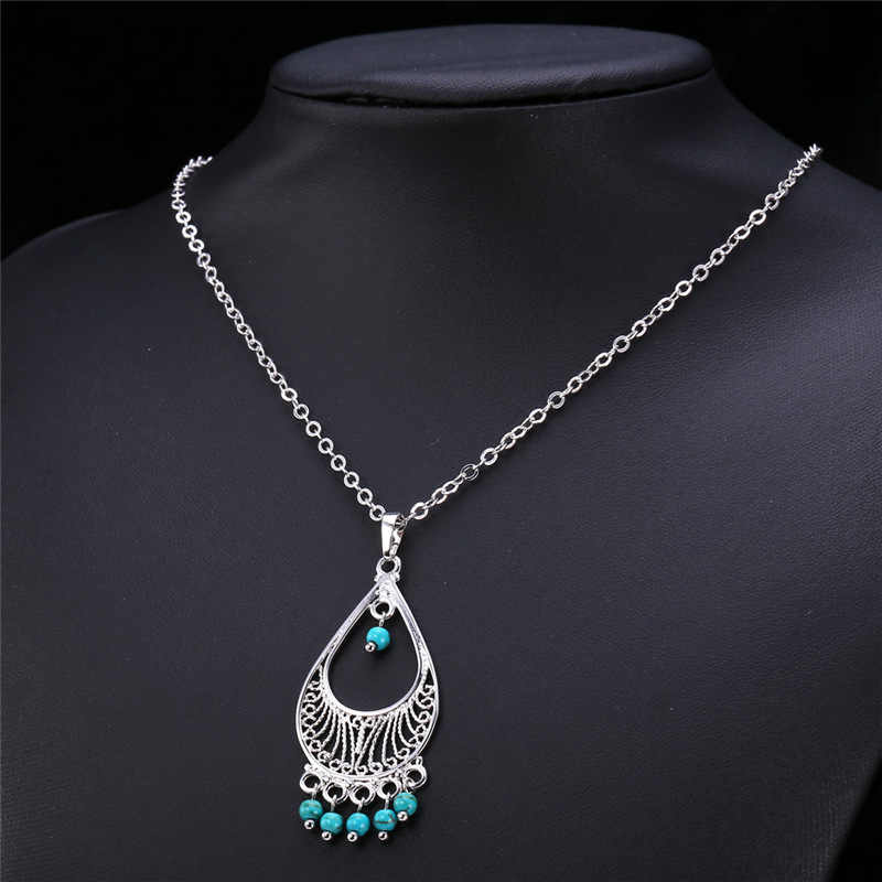 U7 Bohemian Jewelry Blue Stone Necklace Women Accessories Gold/Silver Color Necklaces For Women Turkish Jewelry P637