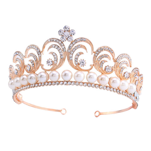 placeholder Vintage Wedding Bride Crystal Rhinestone Flower Leaf Simulated  Pearl Rose Gold Color Crown Tiara Headband HG00263 7f5bf7e8b012