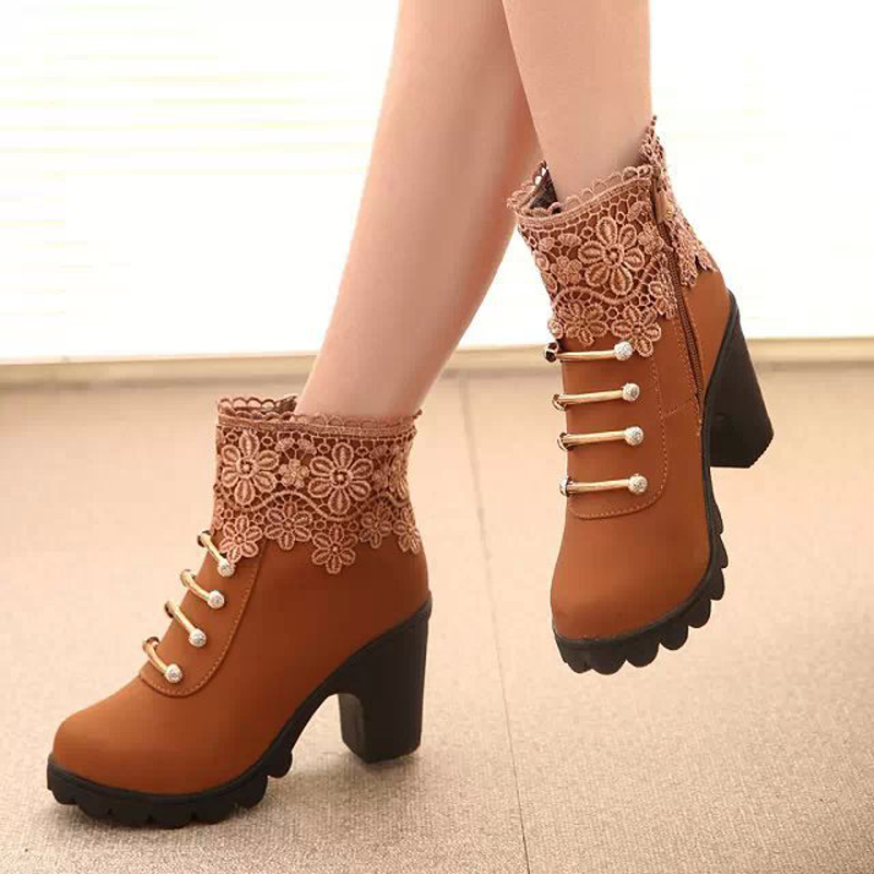 2017 Women Boots Fashion PU Leather Round Toe Ankle Boots Sexy Lace Ladies High Heels Platform
