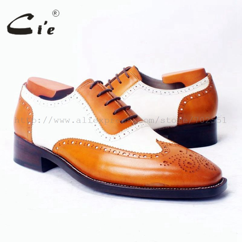 cie Square Toe Full Brogues Wing tips Oxfords Brown White Mixed Colors 100 Genuine Calf Leather