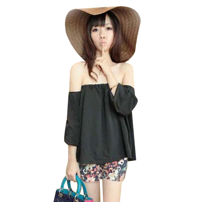 HOT SUMMER NEW KOREAN VERSION OF THE BOAT NECK STRAPLESS LONG-SLEEVED CHIFFON SHIRT WF-4444890 Freeshipping