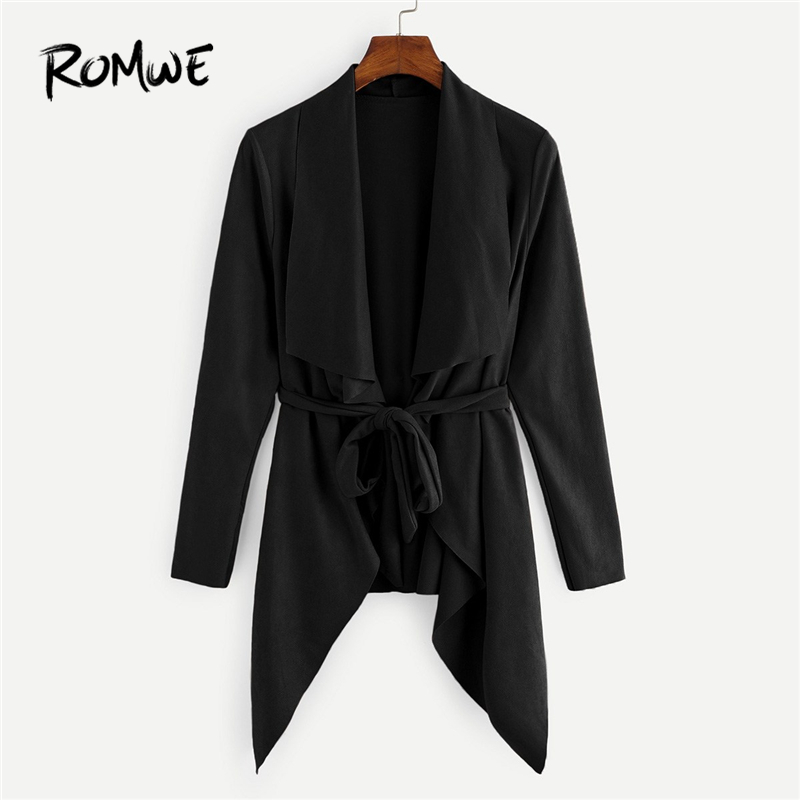ROMWE Belted Waterfall Collar Suede Solid   Trench   Coat For Women Fashion Clothes 2019 Autumn Clothing Casual Going Out Outerwear