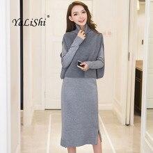 цены 2 Piece Set Winter Women Dress Knitted Sweater Grey Black Long Sleeve Turtleneck Dress Office Vintage Bandage Midi Dresses