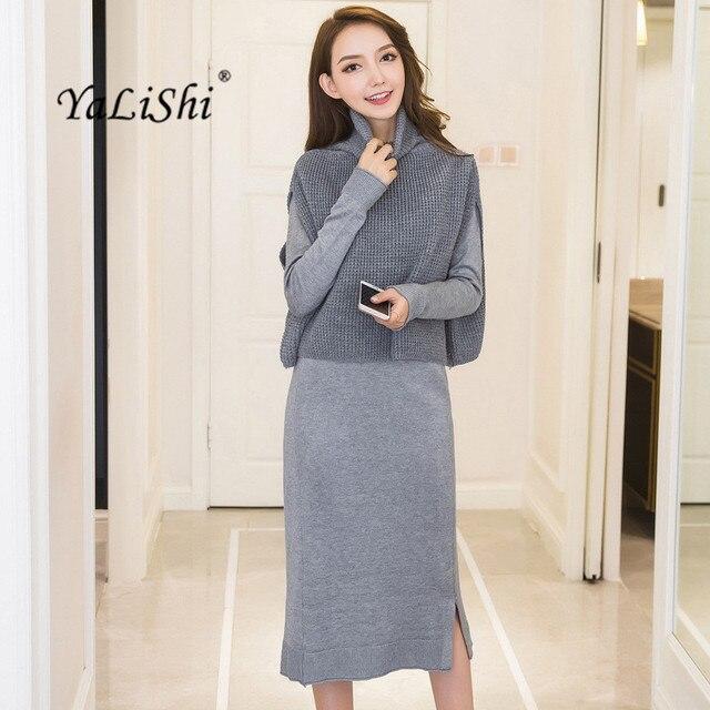 8b2e1980427 2 Piece Set Winter Women Dress Knitted Sweater Grey Black Long Sleeve  Turtleneck Dress Office Vintage