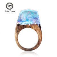 Hot Resin Magic Wooden Rings For Women Dream Snow Mountain Strange Scenery Ring Natural Landscape Wood