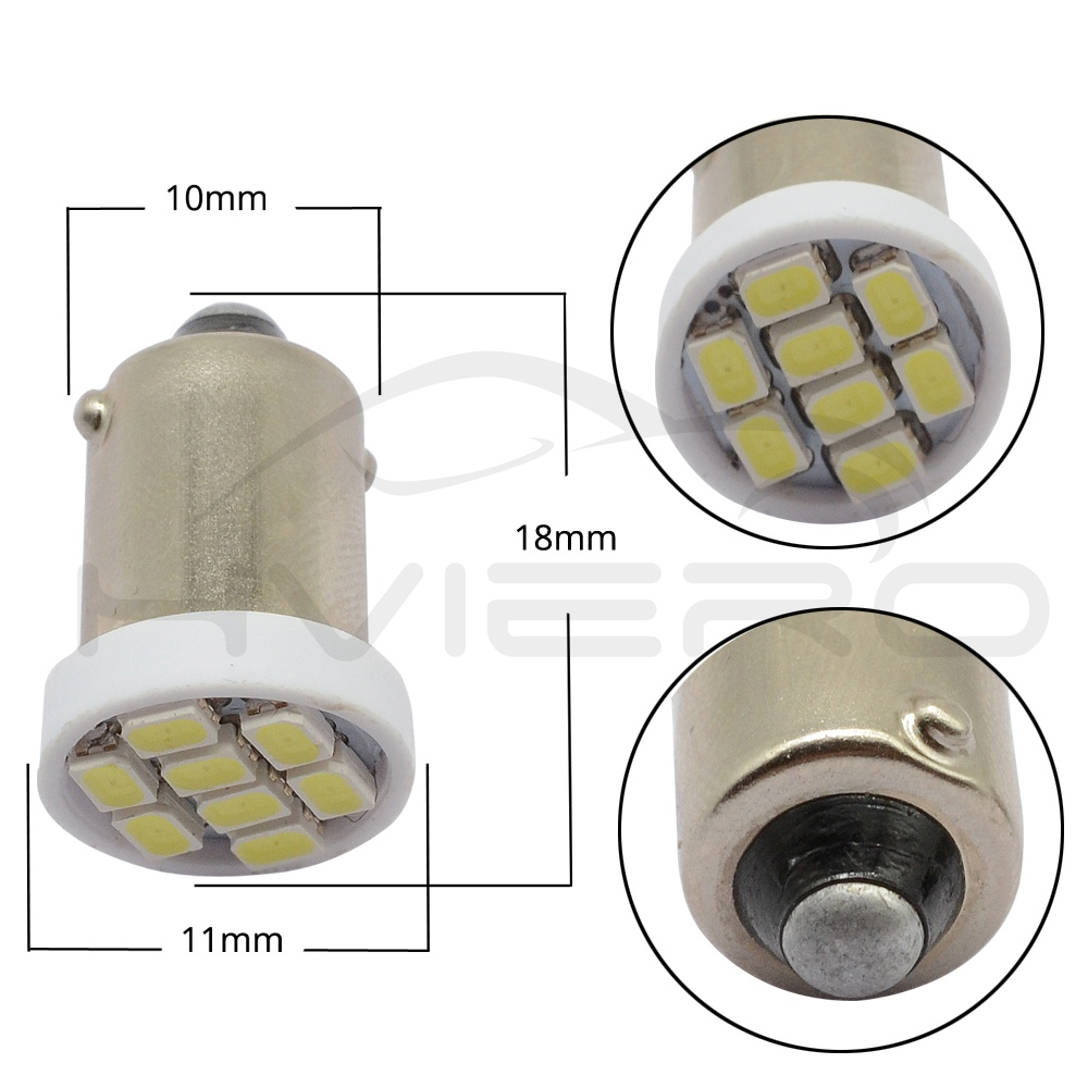 Hviero White T11 Ba9s 182 1206 8smd Auto Car Led T4w W6W Festoon Dome Door Light Tail Bulbs Turn Signal Lamps License Plate Lamp DC 12V