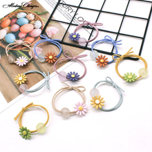 High Elastic Rope Rubber Scrunchies New Simple Hair Ring Jelly Color Beads small daisies double knot Sweet Girl Accessories
