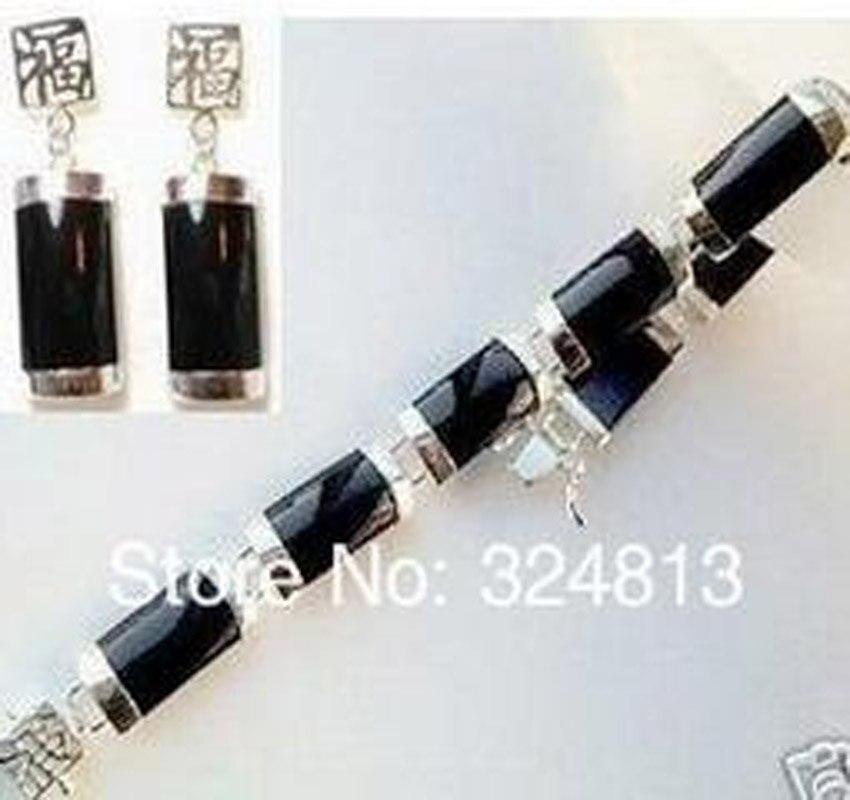 Nouveau ensemble de boucles d'oreilles Bracelet noir élégant pour femmes #1123