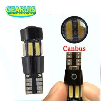 HK Post 100X car t10 canbus lens 10 smd 7014 led 10smd no error 3 chips w5w wedge light bulb lamp 194 168 501 cold white dc 12v