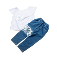 2018 Kids Girls Clothes Set Butterfly Sleeve White Top Denim Pants With White Lace Girls 2Pcs