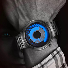 REMZEIM New Unique Rotate Creative Watch Men Steel Mesh Band Quartz Wristwatches Sports Casual Blue Watches reloj hombre