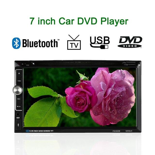 "7"" Universal 2 Din HD Car DVD Player Touch Screen Bluetooth USB/TF FM Aux Input Radio Multimedia player Steering wheel control"