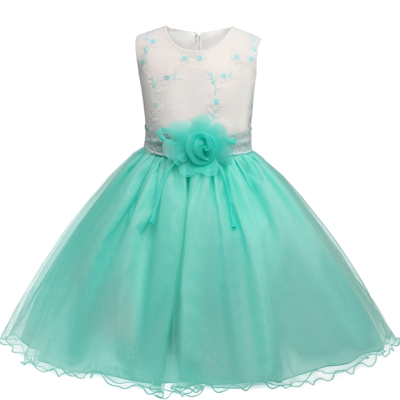Fancy Girl Dresses Clothing 3 Colors Kid Princess Sleeveless Dress Flower Tutu Tulle Lace Clothes for Wedding Birthday Party baby cartoon flower pattern dress high quality tulle tutu clothes girl christmas costume girl dresses for party and wedding 2017