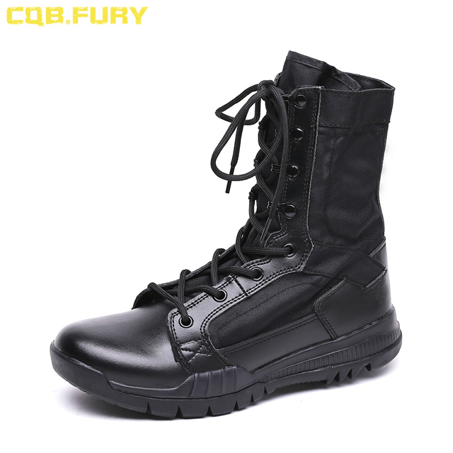 0ebefe41572 US $37.84 45% OFF|CQB.FURY Summer super light lace up military Boot  Tactical Breathable ankle strap Army Boots Mens Black Combat Boots size38  46-in ...