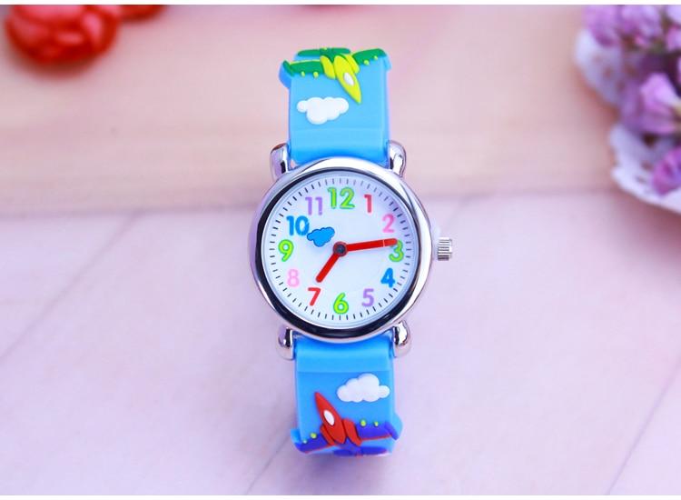Children's Gift Watch Quartz 3D Strap Cartoon Fighting Aircraft Watch Pointer Fashion Electronic Waterproof Watch Kids Watches
