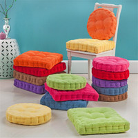 Thick Corduroy Elastic Chair Cushions For Kitchen Chair Solid Color Seat Cushion Square Round Floor Cushion Machine Washable