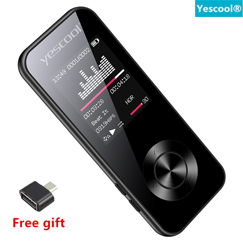 Yescool 1.8 Inch Metal Sport lossless MP3 Player Portable walkman 8GB Built-in Speaker FM Radio E-book Clock HIFI Music Player image