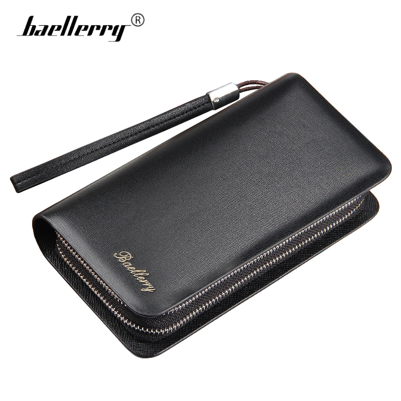 Baellerry Double Zipper Men Wallets Large Capacity Mens Wallet Phone Bag High Quality Leather Male Long Clutch Coin Purse cuzdan brand double zipper genuine leather men wallets with phone bag vintage long clutch male purses large capacity new men s wallets