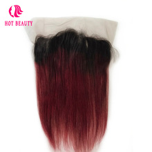 Hot Beauty Hair Straight Ombre Brazilian Hair Wine Color Human Remy Hair 13*4 Pre Plucked Lace Frontal closure For Black Women