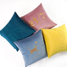 Modern Letter Pet Embroidery Pillow Case European Simple Velvet Cover Square Soft Breathable Warm Washable Cushion
