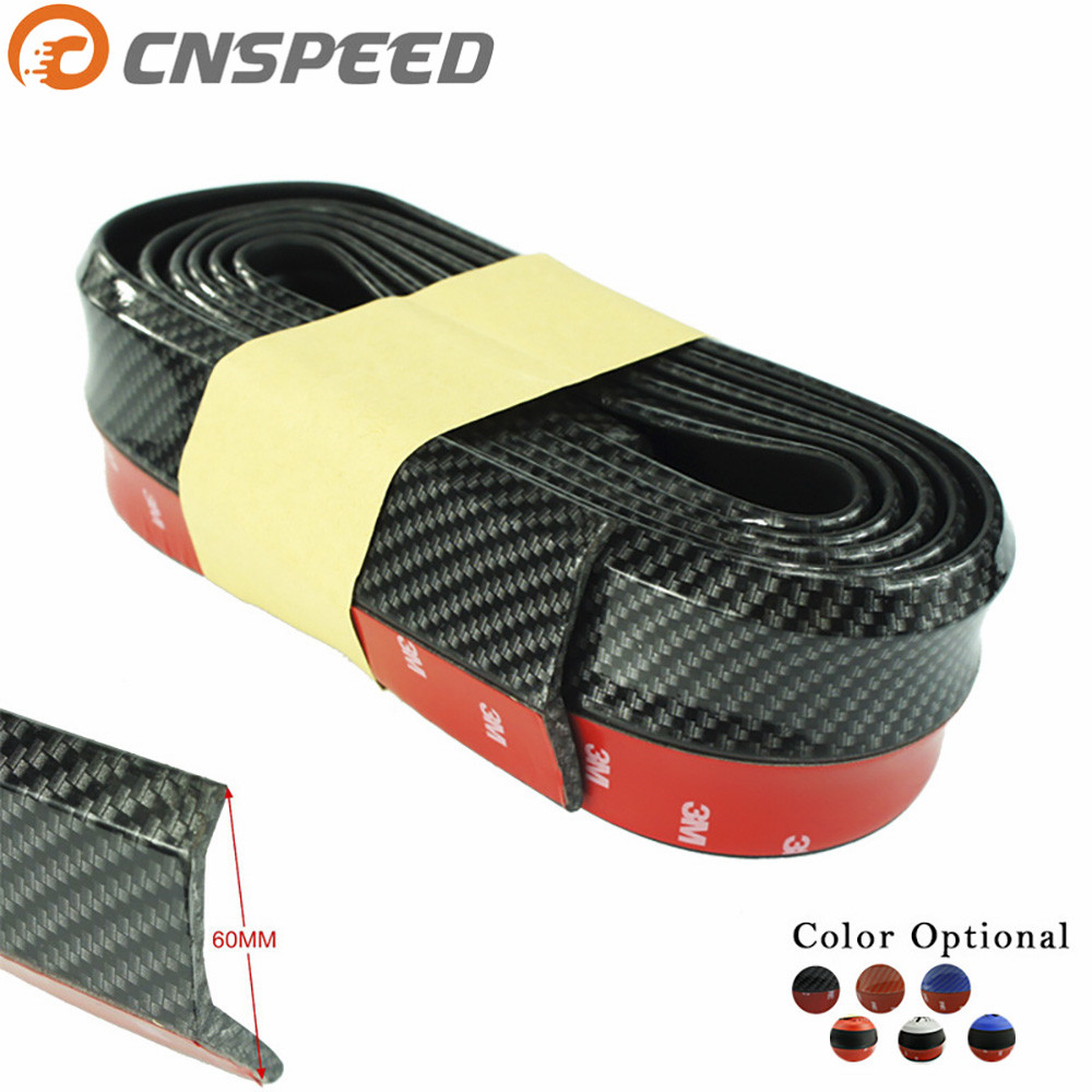 CNSPEED New Carbon fiber Rubber Soft Black bumper Strip Car 60mm Width 2.5m length Exterior Front Bumper Lip Kit Bumper Car ...