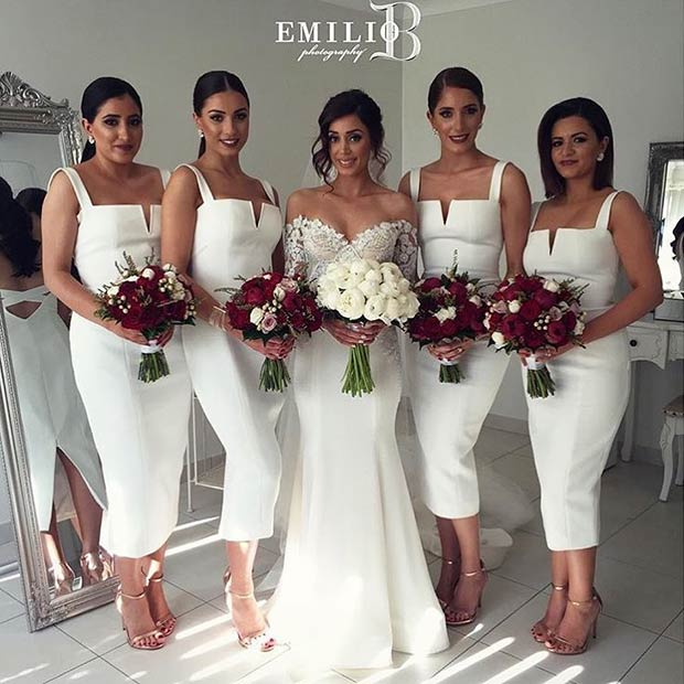 2017 Elegant New Arrival Bridesmaid Dress White Sheath Bodycon Midi Dresses In From Weddings Events On Aliexpress
