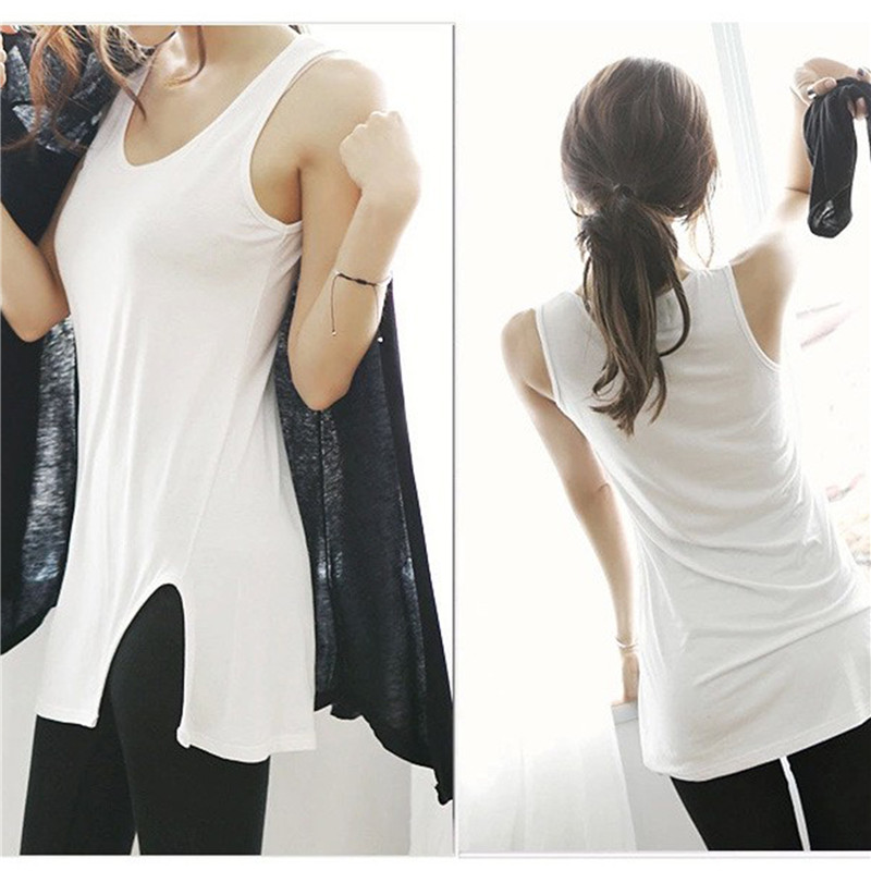 Summer Tank Top Women Sleeveless Side Split Long Vest Cute Ladies White / Black Casual S ...