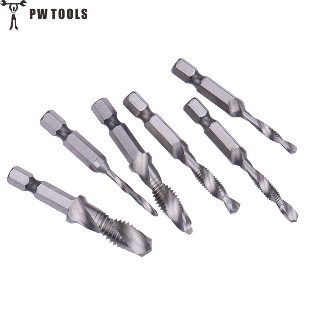 PW TOOLS 6Pcs/Set HSS Screw Tap M3-M10 Metric Composite Tap Drill Bit Thread Spiral Screw Taps 1/4'' Hexagon Handle 6pcs set m3 m10 metric composite tap drill bit thread spiral screw tap 1 4 hex hss drill bit