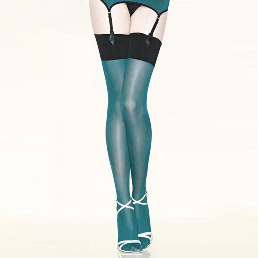 Sexy women contrast color shine thigh high stockings multicolour oil flashing medias ladies collant|thigh high stockings|high stockingsthigh high - AliExpress