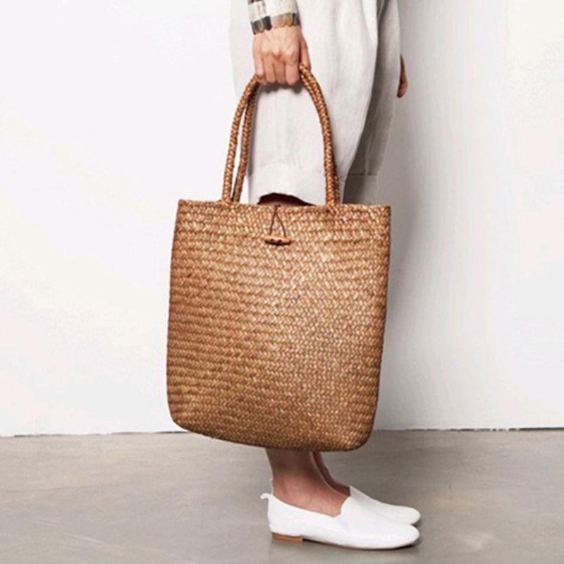 Knitted Straw Bag For Women Tote Summer Bohemia Women's Handbags Solid Shoulder Beach Bag Shopping