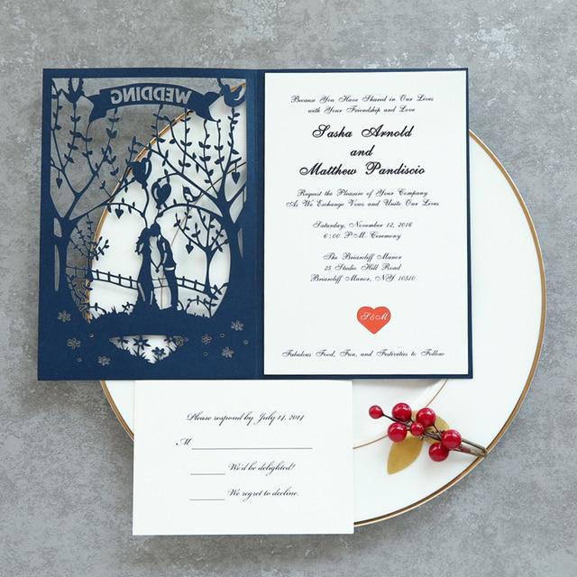 4 pcs cartoon pattern flower laser cut wedding invitations kit print