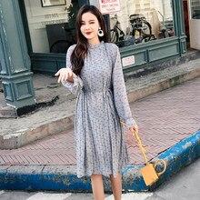 a384331cb3 Primavera Coreano Mulheres Alargamento Da Luva Floral Vestido Moda Estilo  Preppy Plissado Vestidos Casuais Mulher Impressão