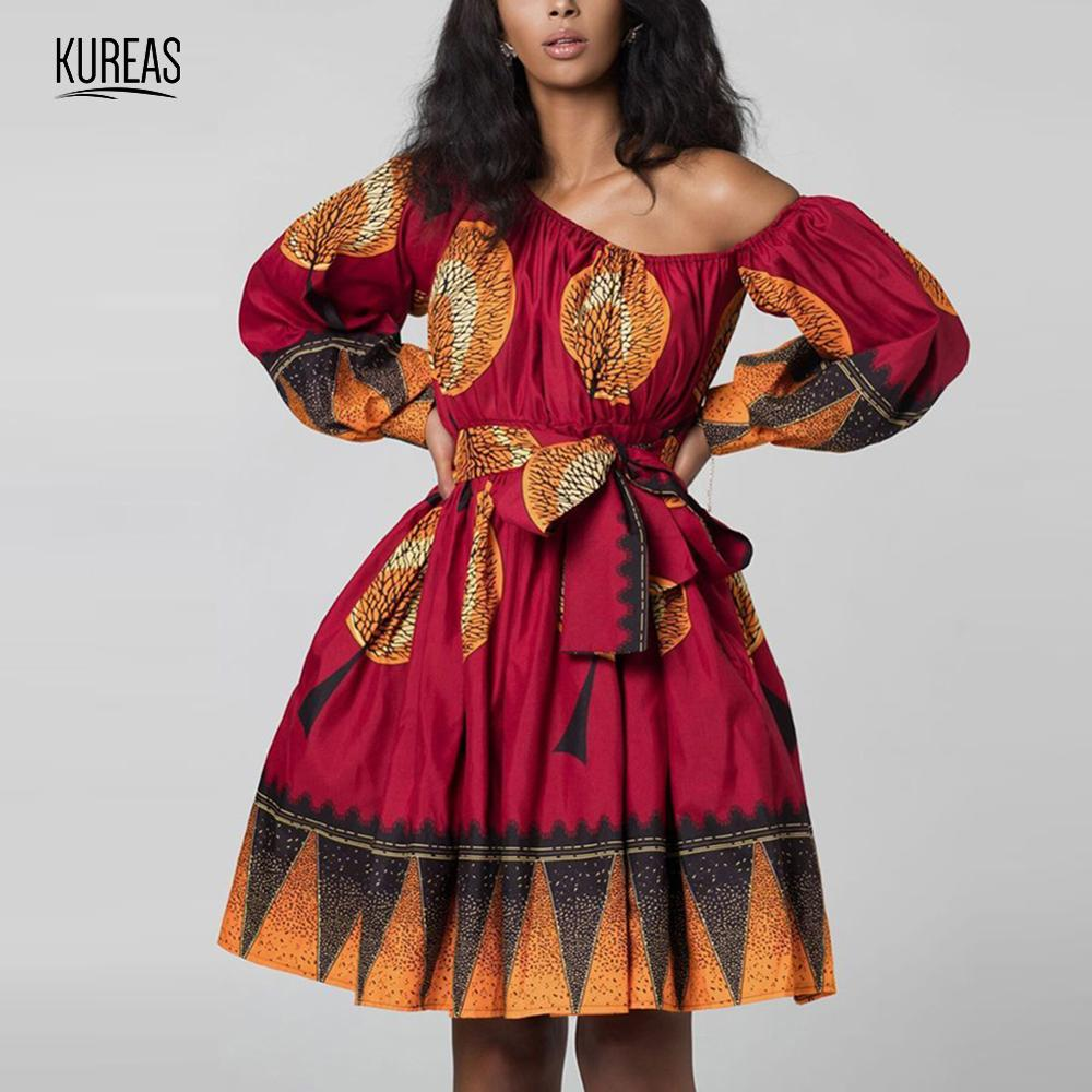 Kureas African Dresses for Women Dashiki Summer Dress Print Asymmetrical Mini Vestidos Clothes Vetement Femme 2019