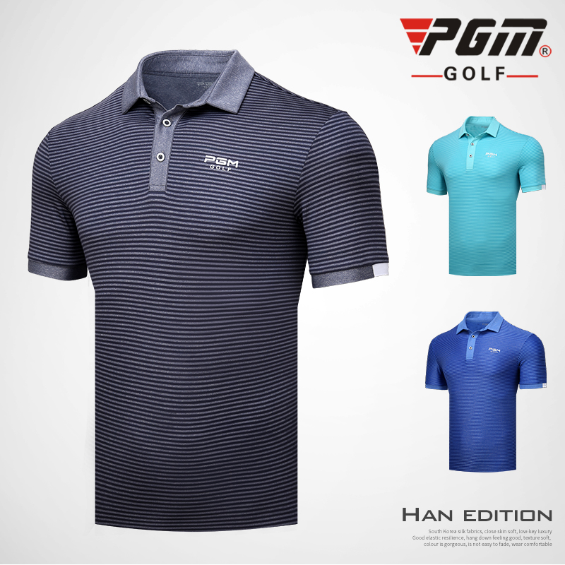 2018 PGM mens Golf sportswe summer striped button collar short sleeve T-shirt breathable Moisture Wicking golf POLO shirts