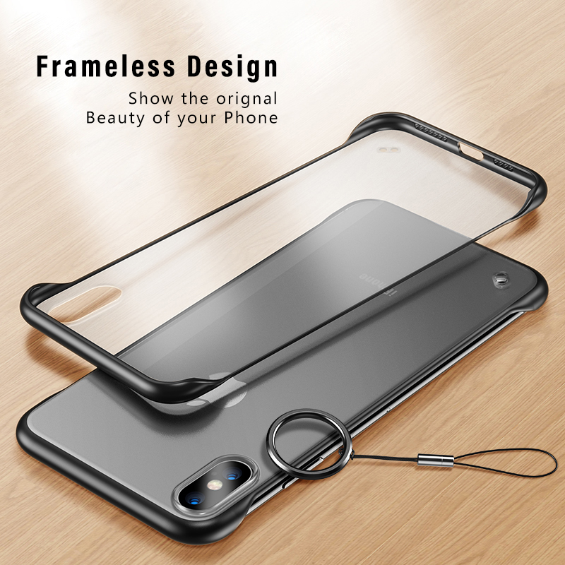Shockproof Clear Frameless <font><b>Bumper</b></font> Finger Ring <font><b>Case</b></font> for iPhone XS Max XR X Ultra Slim Matte Hard PC Cover For iPhone 8 7 6s Plus image