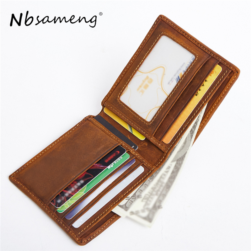 NBSAMENG Men Short Wallets Genuine Cowhide Leather Wallet Men Small Men's Coin Purse Slim Card Holder Male Wallet skidproof beach style book starfish area rug