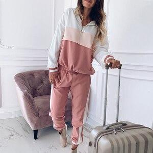 Image 2 - 2020 dres damski zestaw dwuczęściowy stroje dla kobiet Slim kolor kurtka z przeszyciami casualowa kurtka i spodnie garniturowe na co dzień