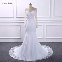 yiwumensa Bridal gowns wedding dress 2017 Long sleeves lace mermaid wedding dresses Appliques vestidos de noiva bruidsjurken