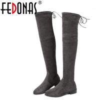 FEDONAS Genuine Leather Stretch Flock Over The Knee Boots Autumn Winter Snow Women Boots Fashion Low