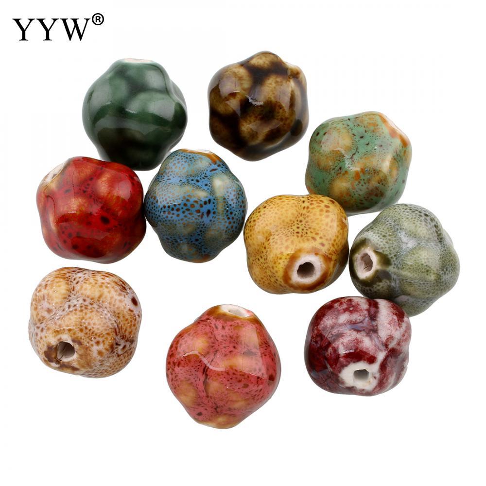 100pcslot 16x16mm Glaze Porcelain Beads Charms Ceramic Beads Handmade DIY Braided Bracelets Necklace Jewelry Making Accessories
