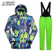 2018 Mens Ski Suit Winter Jackets Pants For Men Warm Waterproof Snowboarding Suits Russian Sport Snow Clothes