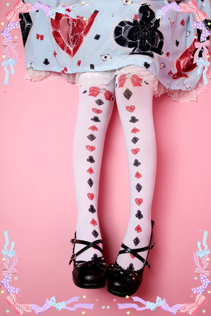 Princess sweet lolitaAlice Poker Bow Red Heart Queen knee socks G09