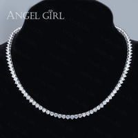 Angelgirl 2016 Fashion Charms Created AAA CZ Crystal Statement Tennis Necklace For Women Brand Jewelry 18K