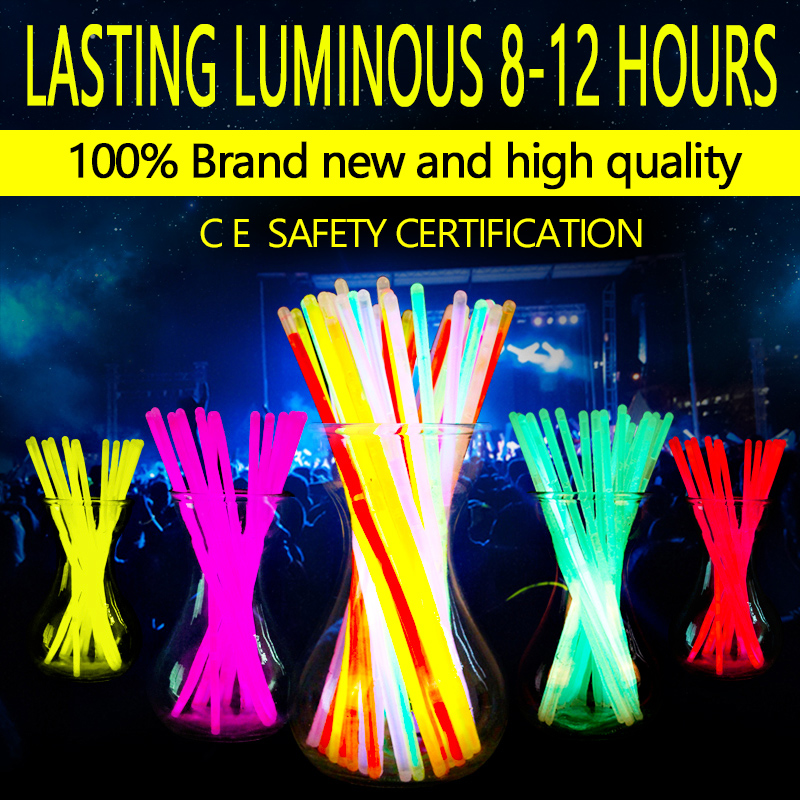 New Fashion 100Pcs Multicolor Glow Stick Light Bracelets Party Fun Glow Bracelet dance party supplies Copious Free Shipping