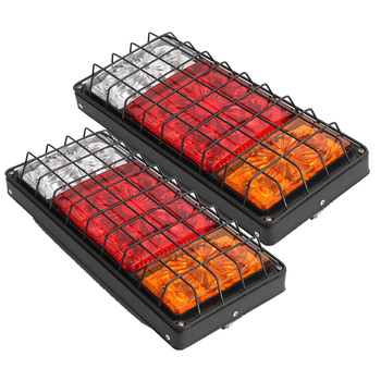 1 Pair 40 LED Car Rear Tail Lights with Iron Net Warning Lamp for 12V 24V Truck Trailer Vehicles Car Styling