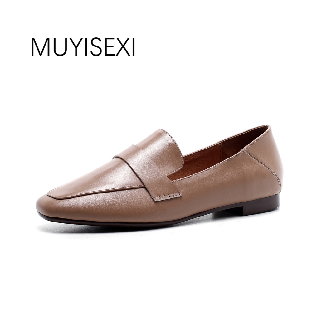 Women Flat Shoes Genuine leather Slip-on Casual Loafers Women Shoes Two Kinds of Wear Method Black Brown 34-40 WMN02 MUYISEXI artmu women high heels shoes two kinds of wear methods shoes female handmade leather shoes women pumps slip on shoes
