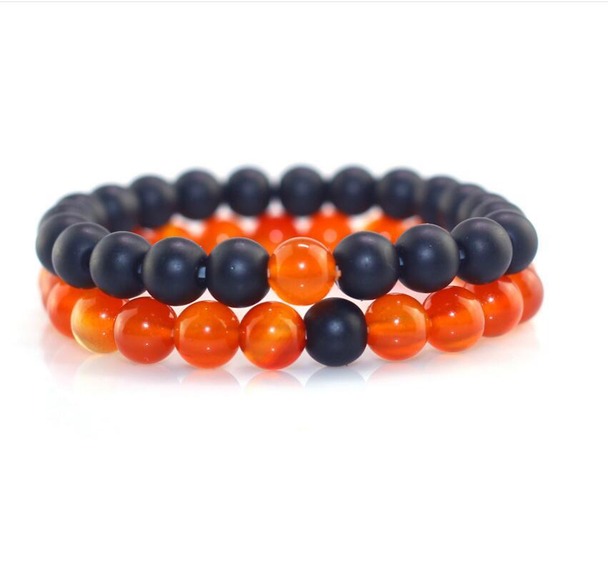 2pcs/set Black orange Bead Bracelet Charm Bangle Natural Beads Buddha Bracelet Jewelry for Women and Mens Pulseras Masculina