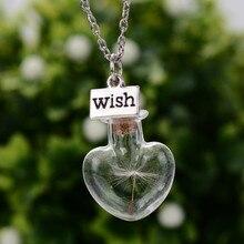 Original Drifting Bottle Lively Pendent Necklaces Creative Natural Dry Dandelion Women Flower Glass NecklaceGirls Gift