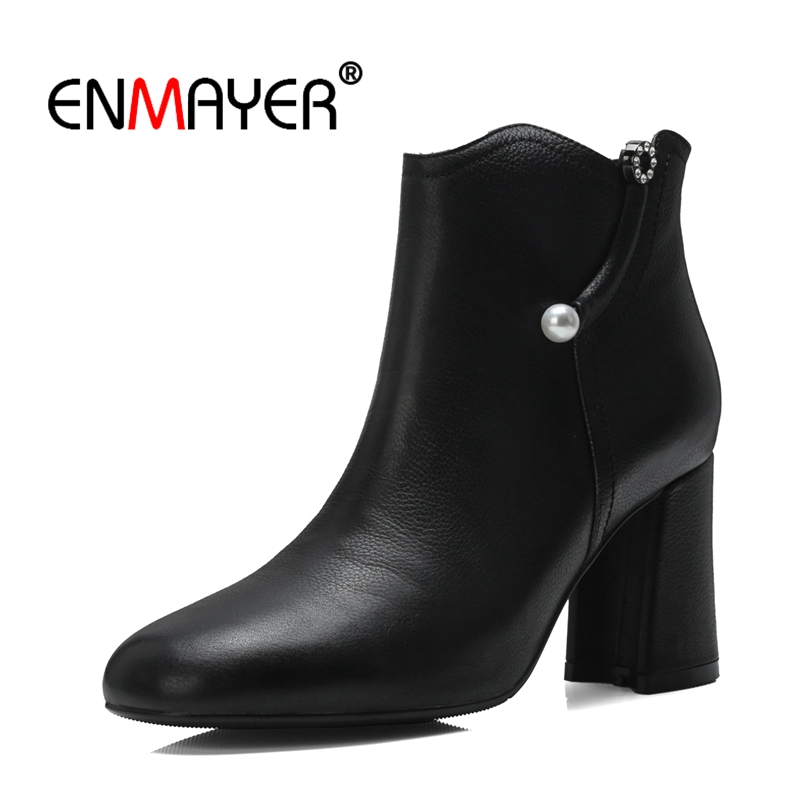 ENMAYER Women Ankle Boots Shoes women Size 31-43 Casual Square Toe Winter High Heels Fashion Beading Zipper Thick heels CR1467 fashion embroided design spring winter casual women shoes zipper round toe square high heels women ankle booties free shipping